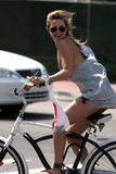 Kate Hudson in bikini and very loose wifebeaters on her bike in Miami - upskirt candids